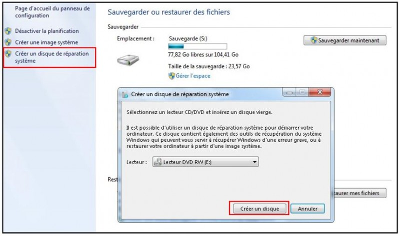 Restaurer Windows  A Partir D Un Disque Dur Externe