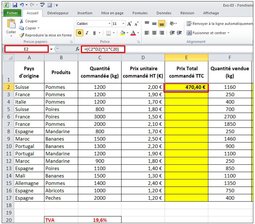 Excel 2010 Formules De Calcul Et Fonctions Je Me Forme Au Numerique
