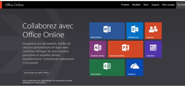 Ecran d'accueil Office Online