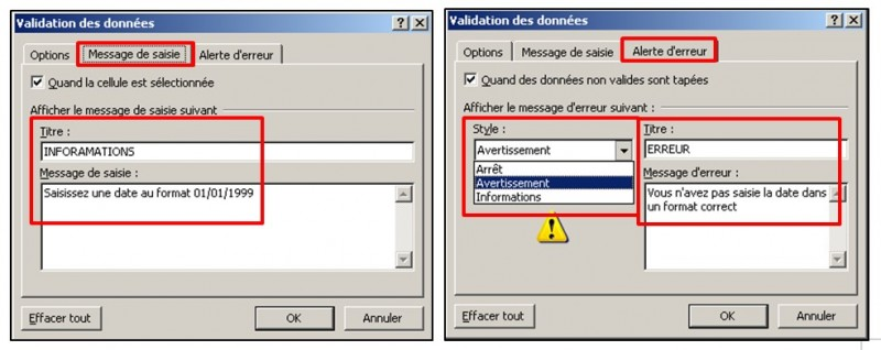 Excel 2010 - Validation de donnees - creer des messages de saisie ou d erreur