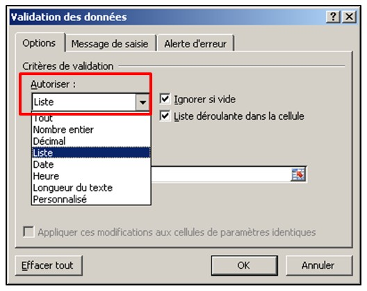 Excel 2010 - Validation de donnees creer une liste de validation