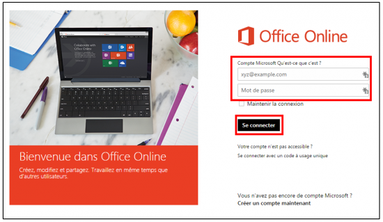 Se connecter sur Office Online