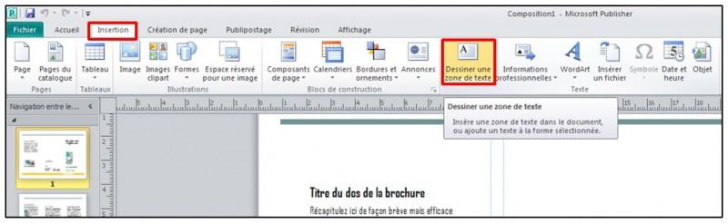 Publisher 2010 - dessiner une zone de texte