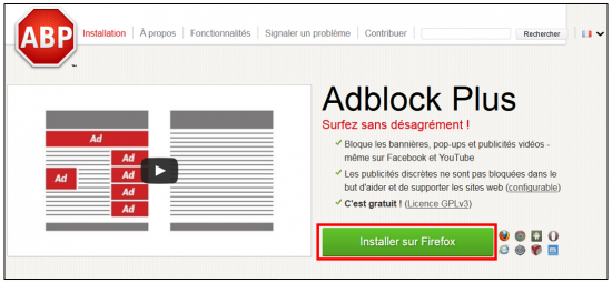 installer l application sur Firefox