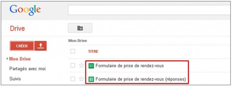 Google formulaire agenda - afficher le formulaire et la feuille de calcul dans Drive