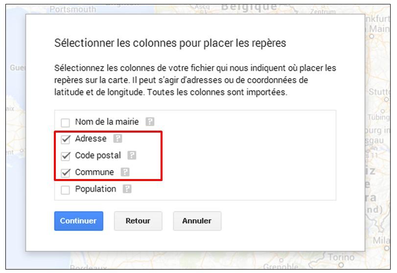 creer une carte google map a partir d une liste adresse - selectionner les colonnes pour placer les reperes