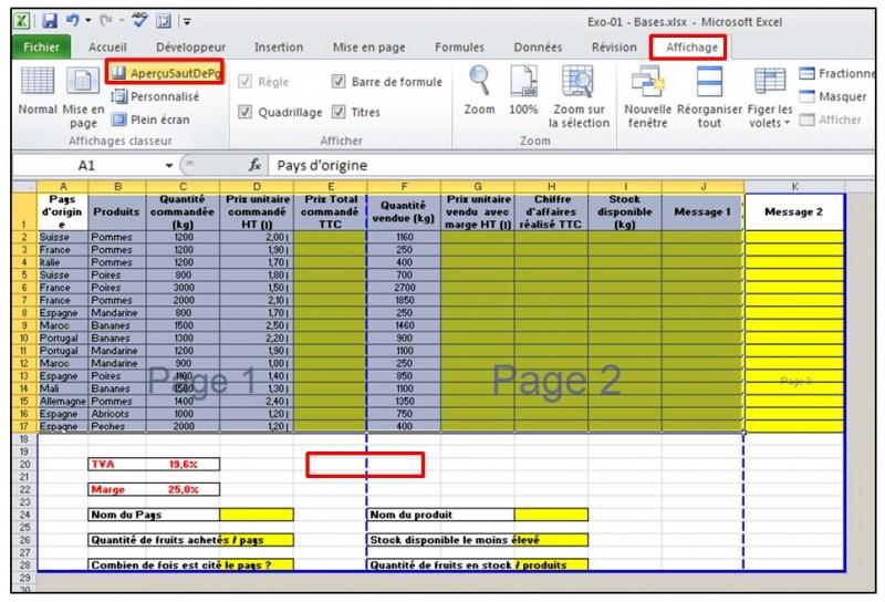 Excel 2010 - Les bases - apercu des sauts de page