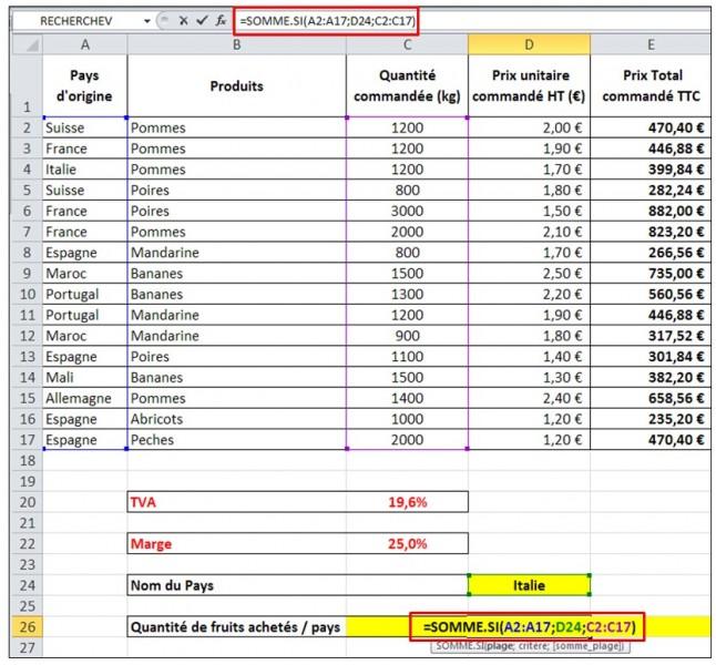 Excel 2010 - formules et fonctions - fonction somme si