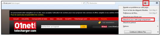 Désactiver l'extension pour un site sous Firefox