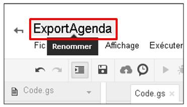 Google formulaire agenda - renommer le script