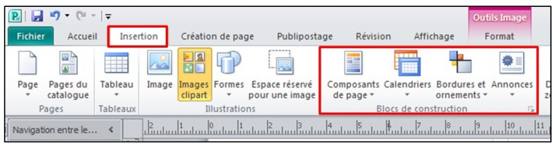Publisher 2010 - inserer un bloc de construction