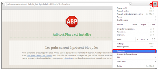 Supprimer l'extension sur Chrome