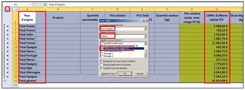 Excel 2010 - formules et fonctions - sous totaux