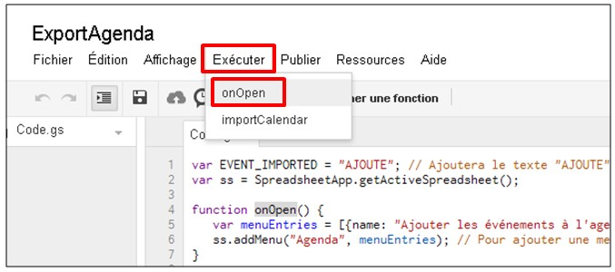 Google formulaire agenda - executer le script