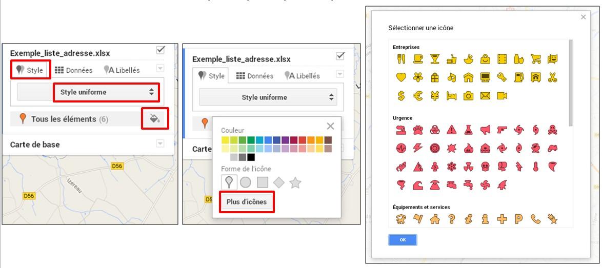 creer une carte google map a partir d une liste adresse - creer un style uniforme pour les reperes