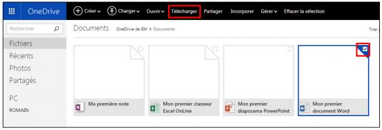 Télécharger un fichier sur OneDrive