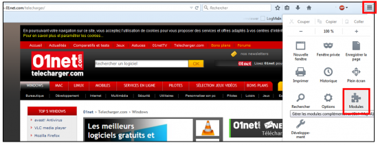 Supprimer l'extension sur Firefox