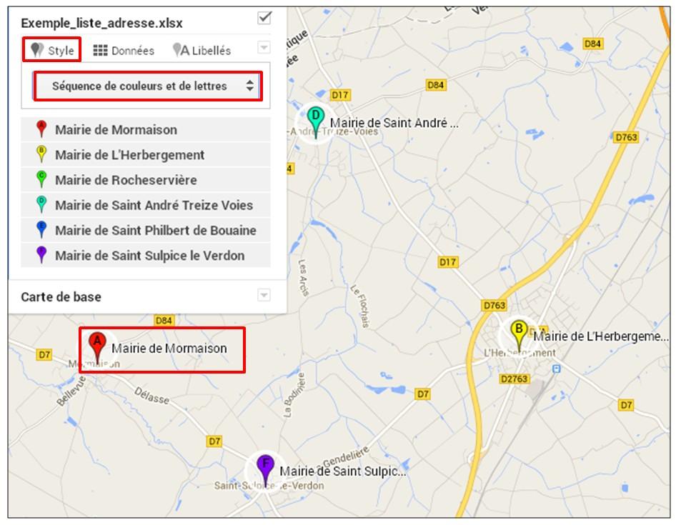 creer une carte google map a partir d une liste adresse - creer un style de couleurs et de lettres