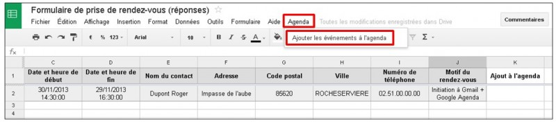 Google formulaire agenda - ajouter manuellement un evenement a l agenda