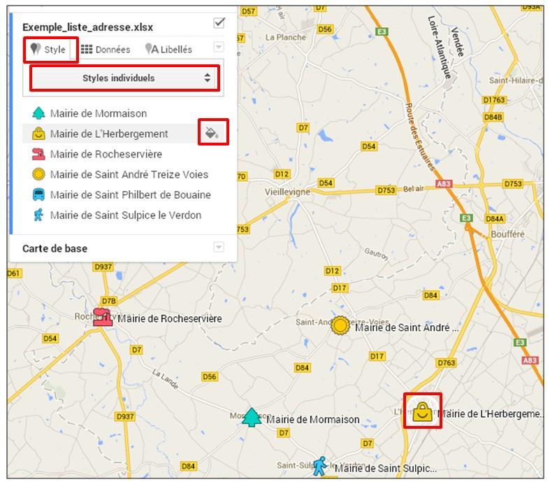 creer une carte google map a partir d une liste adresse - creer un style individuel