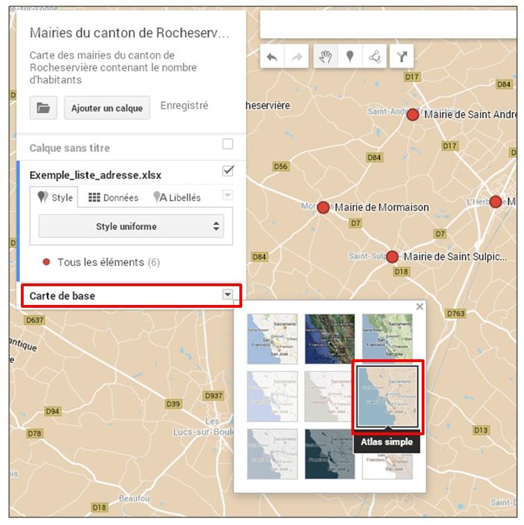 creer une carte google map a partir d une liste adresse - modifier le fond de carte