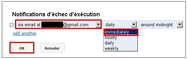 Google formulaire agenda - notification sur erreur du script