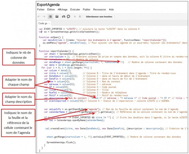 Google formulaire agenda - personnaliser le script