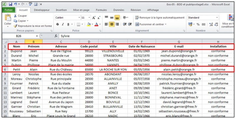 Publipostage avec Word et Excel 2010 - preprarer la base de donnees