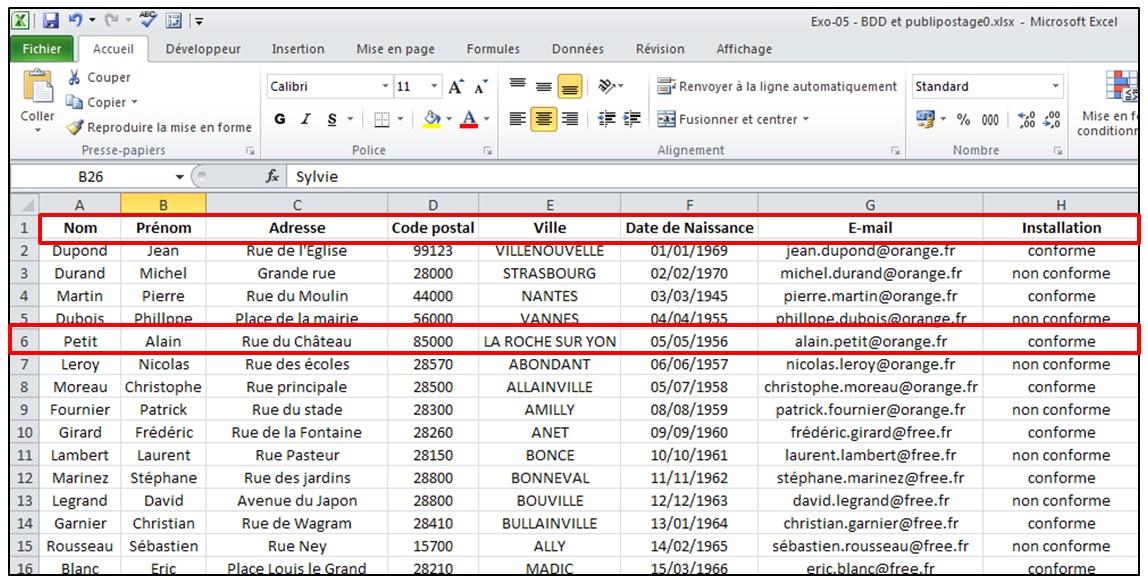 Publipostage Avec Word Et Excel 2010