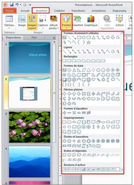 PowerPoint 2010 - objets graphiques et effets d animation - inserer une forme automatique