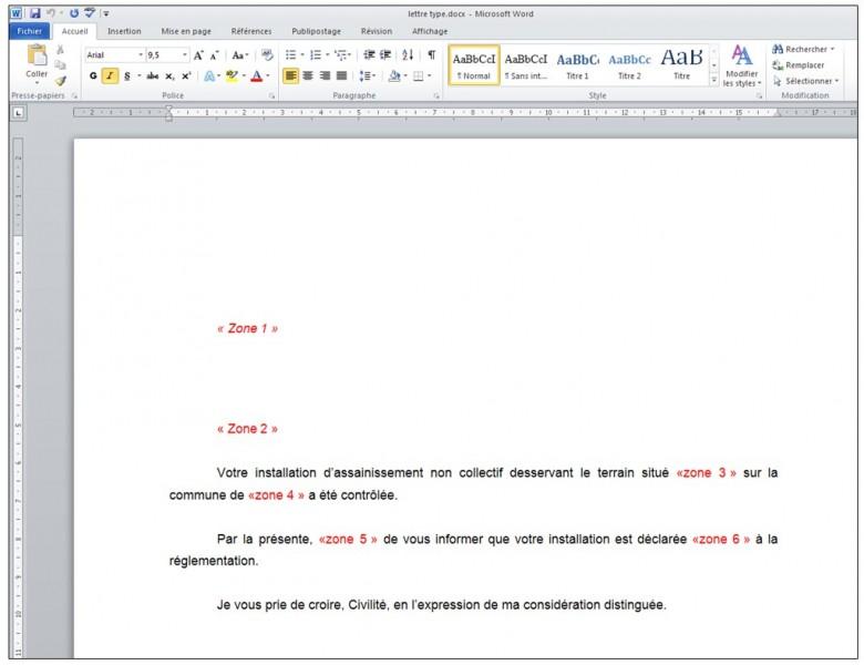 Publipostage avec Word et Excel 2010 - creation de la lettre type