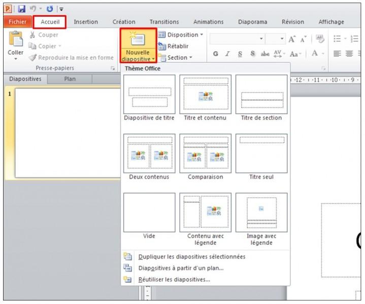 07 - PowerPoint 2010 - les bases d un logiciel de presentation - inserer une diapositive