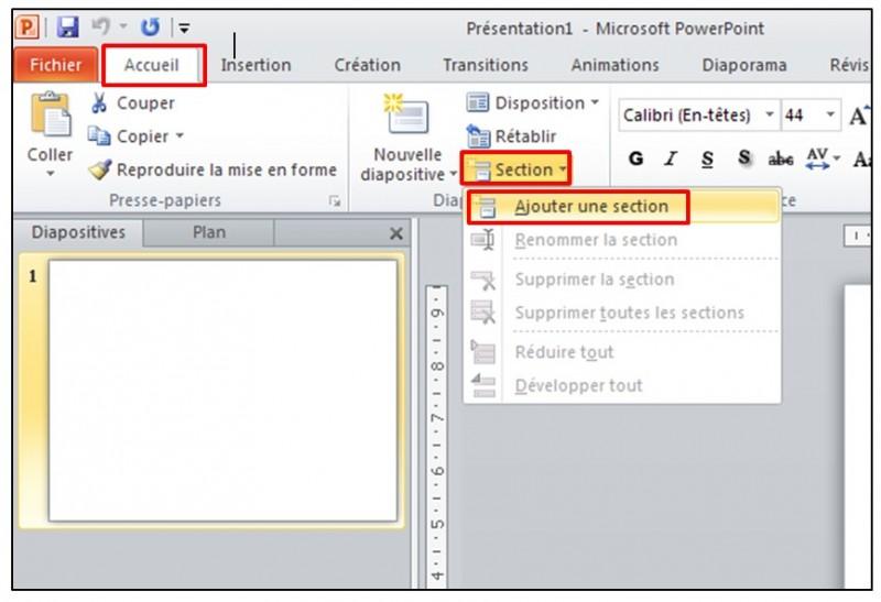 08 - PowerPoint 2010 - les bases d un logiciel de presentation - inserer une section