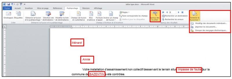 Publipostage avec Word et Excel 2010 - terminer et fusionner