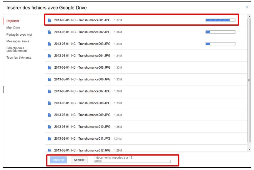 03 - Gmail envoyer des pieces jointes volumineuses avec Google Drive - importer des fichiers sur Google Drive