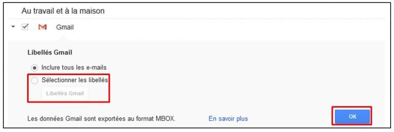 Sauvegarder Gmail sur son Ordinateur avec Google Takeout - Choisir les libelles