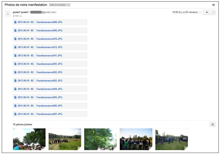 05 - Gmail envoyer des pieces jointes volumineuses avec Google Drive - Message avec les pieces jointes
