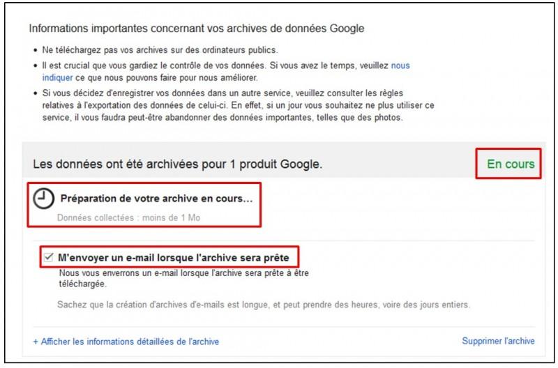 Sauvegarder Gmail sur son Ordinateur avec Google Takeout - Preparation de l archive