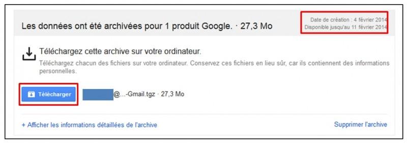 Sauvegarder Gmail sur son Ordinateur avec Google Takeout - telechargement de l archive
