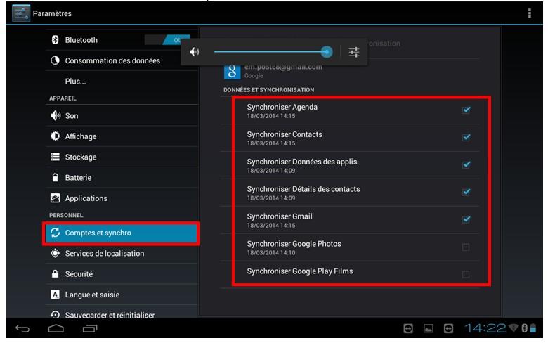 Decouverte et utilisation des tablettes tactiles Android - synchroniser les informations de votre compte Google