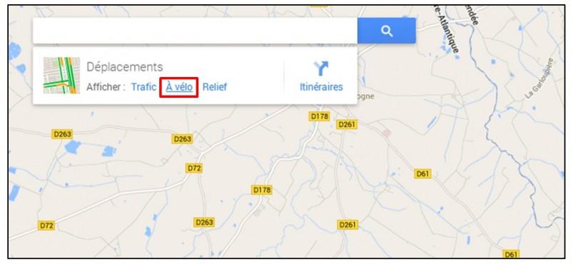 creer un trajet a velo avec Google Map - afficher les routes accessibles aux velos