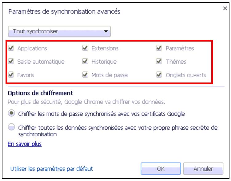 Utiliser le navigateur Google Chrome - parametres de synchronisation avances