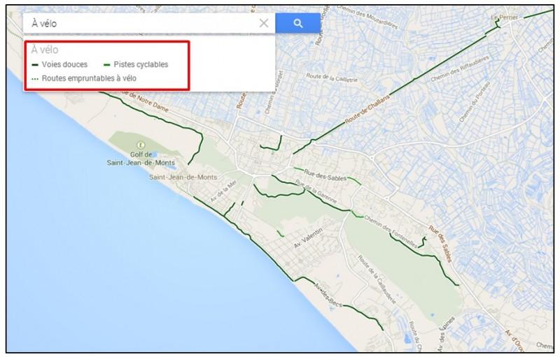 creer un trajet a velo avec Google Map - legende des trajets a velo