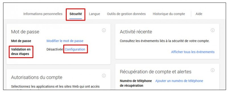 securiser son compte Google avec la validation en 2 etapes - acceder a la page de configuration