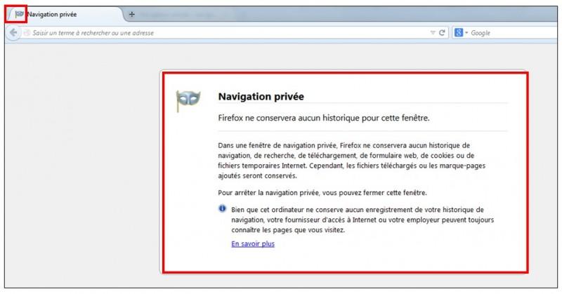 utiliser la navigation privee - Firefox