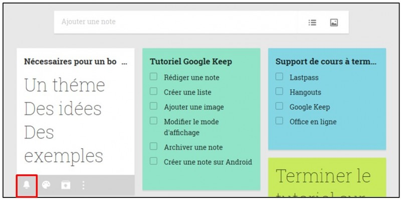 Prendre des notes avec Google Keep - definir un rappel