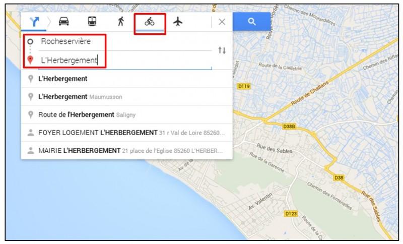 creer un trajet a velo avec Google Map - creer un itineraire velo