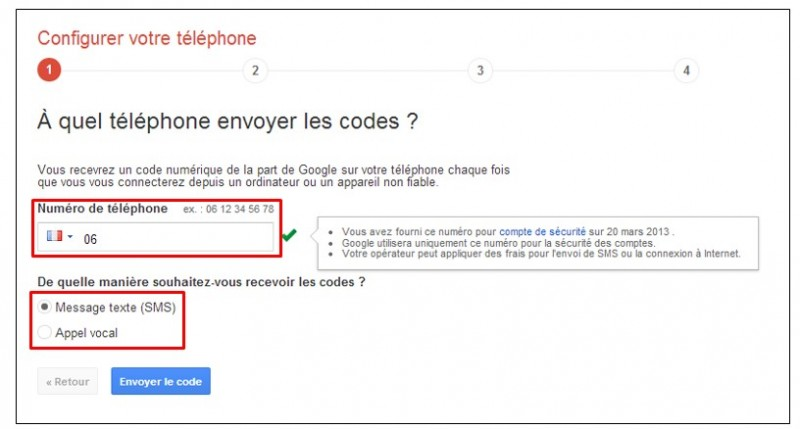 securiser son compte Google avec la validation en 2 etapes - configurer le telephone