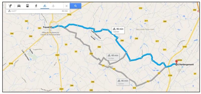 creer un trajet a velo avec Google Map - afficher un itineraire velo