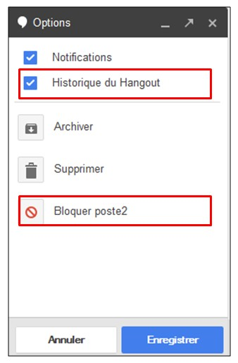 creer une video conference avec Google Hangouts - option de conversation hangouts